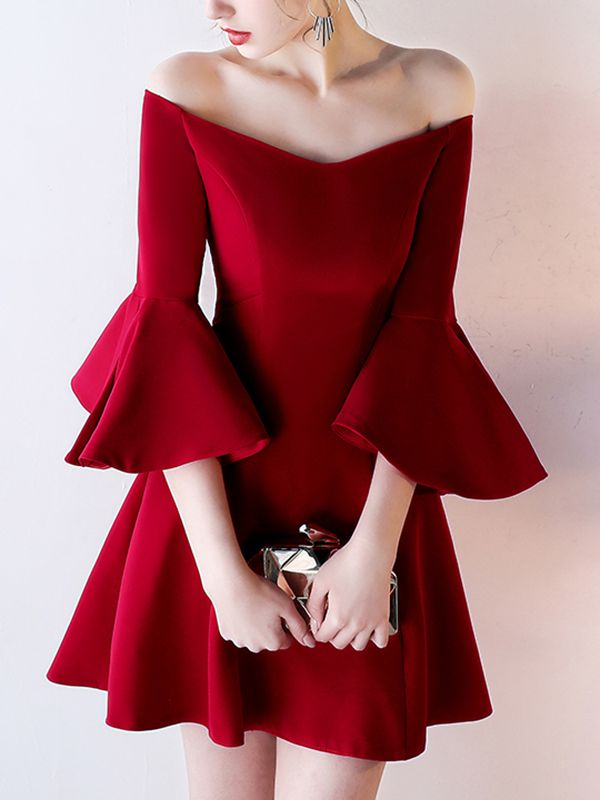 85c2b582cb65 Shop Wine Red Off The Shoulder Flared Mini Dress online. Metisu offers Wine  Red Off The Shoulder Flared Mini Dress   more to fit your fashion needs.