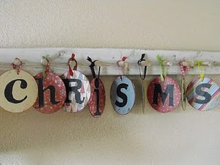 Reuse Christmas CD's--- cover with scrapbook paper, poke a hole & hang.  Fun & Easy!!!