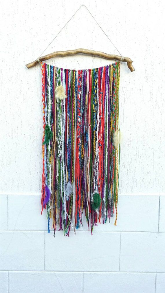 Bohemian Decor, Boho Garland Wall Hanging, Wall Tapestry, Yarn Mobile, Boho Gypsy decor, Indian Sari, Unusual wall décor, tapestries