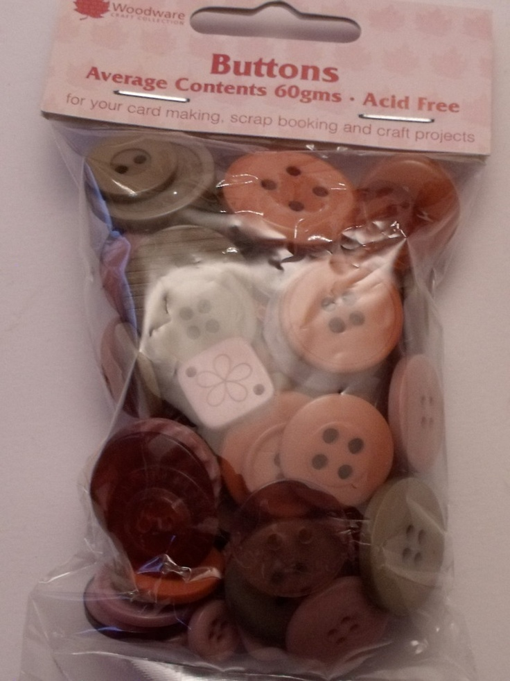 WOODWARE - ASSORTED BUTTONS EARTHY COLOURS (BT012)    Assorted sizes, shades and shapes of buttons for your card making, scrap booking and all craft projects. Approx 60gms.