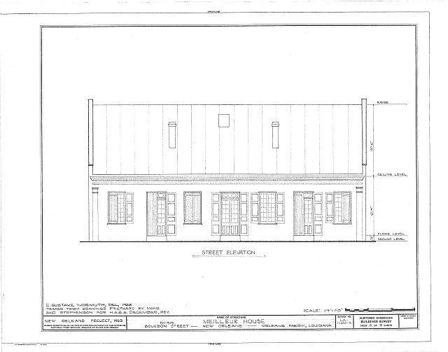HABS LA,36-NEWOR,89- (sheet 3 of 5) - Vieux Carre Squares, Meilleur House, 511-515 Bourbon Street, New Orleans, Orleans Parish, LA