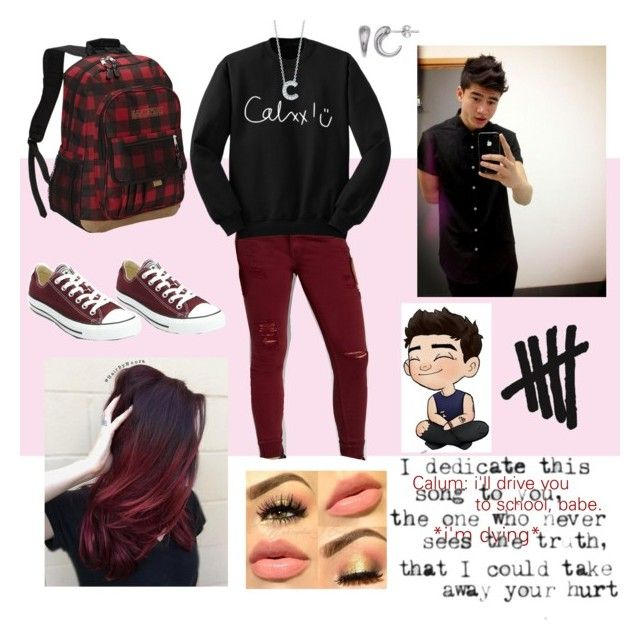 """Long way school with C."" by chechylmiliani on Polyvore featuring Eastsport, maurices, Converse, Roberto Coin, Primrose, 5sos, fangirl and schooldate"