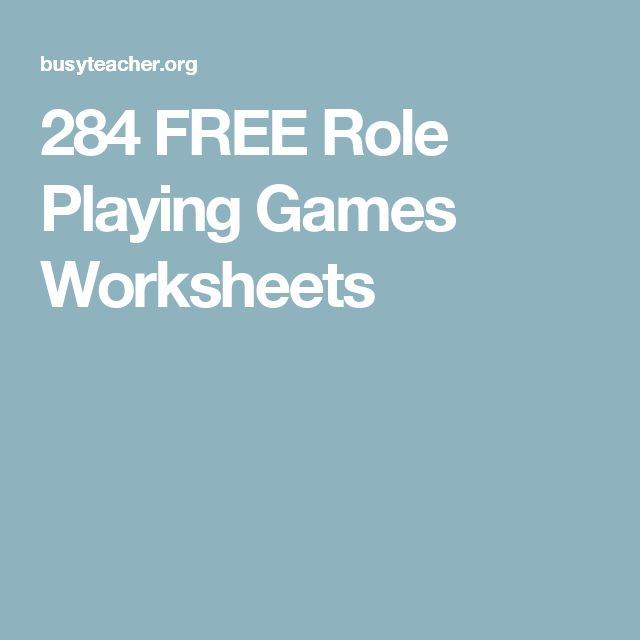 284 FREE Role Playing Games Worksheets