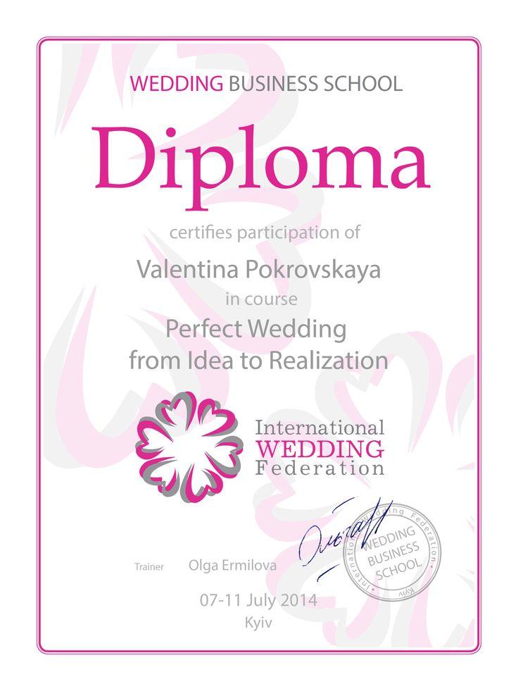 Diploma of completing training on development and realization of a wedding concept   Dyplom ukończenia szkolenia z opracowywania i wdrażania koncepcji wesela