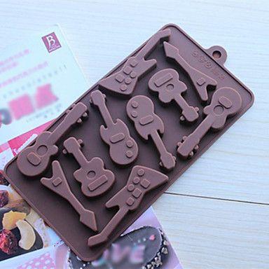 10+οπών+καλούπια+σοκολάτα+σχήμα+κιθάρας+κέικ+πάγου+ζελέ,+σιλικόνη+15+×+14,5+Χ+1,5+cm+(6,0+×+5,8+×+0,6+ίντσες)+–+EUR+€+5.97
