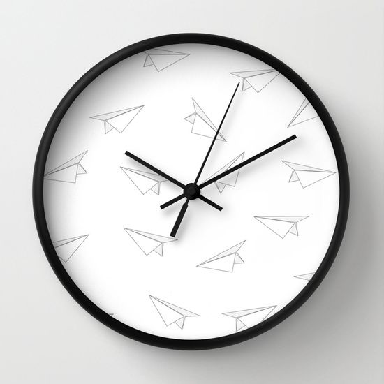 Paper Airplane Clock #society6