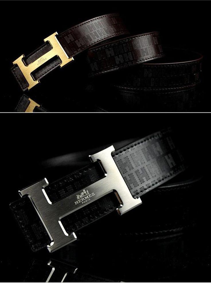 Hermes h logo belt with gold or white gold hardware for men.  Visit WishlistPages.com for more stylish belts.