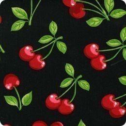 Robert Kaufman Fabric Cherry Toss on Black-  1 yard. $9.50, via Etsy.
