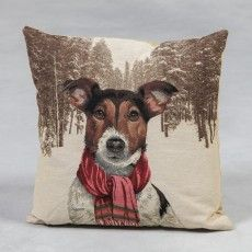 "Jack Russell with Scarf 18"" Tapestry Cushion"