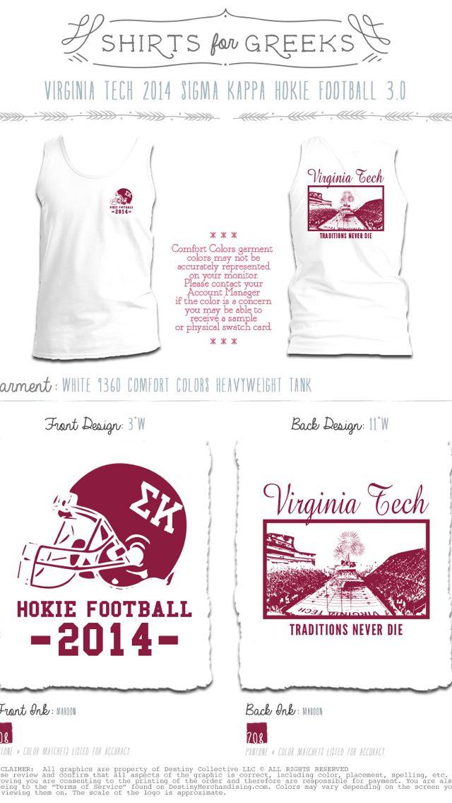Gameday shirts | Greek | sorority | game day | go hokies | Virginia tech football | Sigma Kappa | Shirts for Greeks | www.shirtsforgreeks.com