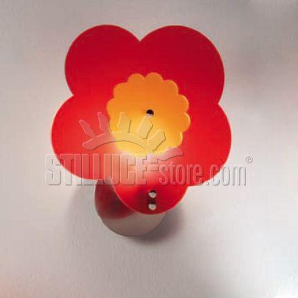 Toffolights Margherita lampada a parete. Diffusore in metacrilato disponibile nelle seguenti combinazioni di colore: margherita bianco/acquamarina (C1/C2), bianco/arancione (C1/C4), bianco/verde (C1/C5), bianco/fucsia (C1/C6), rosso/arancione (C8/C4), rosso/verde (C8/C5).
