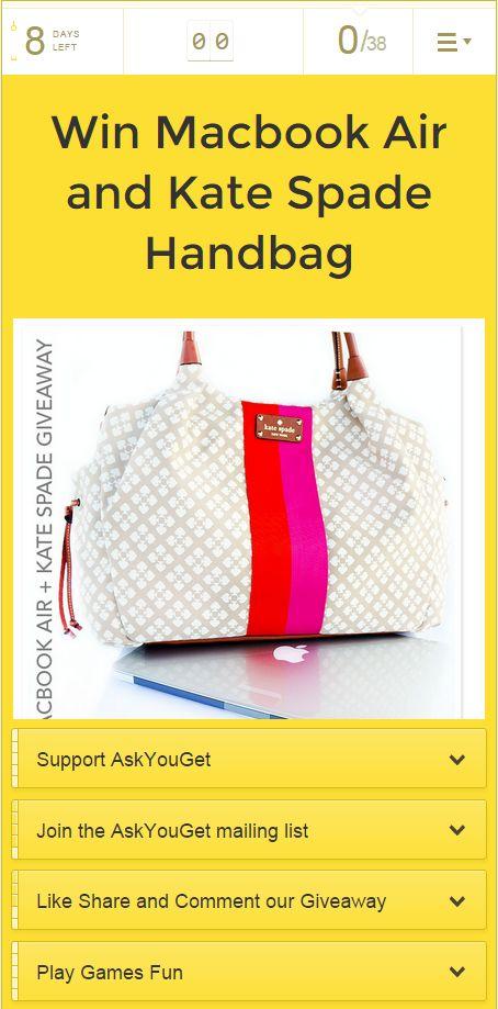 Win A Macbook Air and Kate Spade Bag