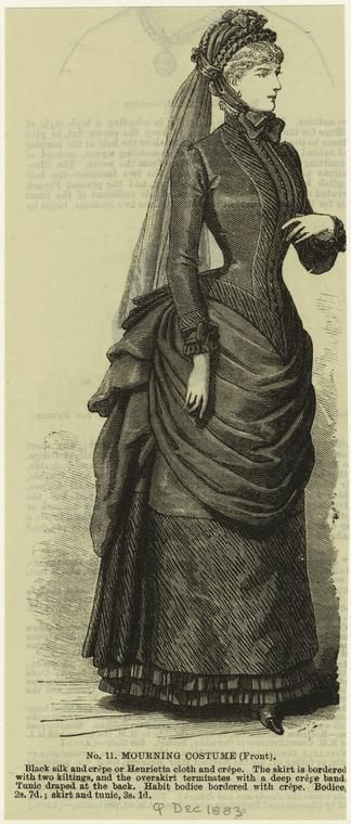 Victorian mourning dress illustration.