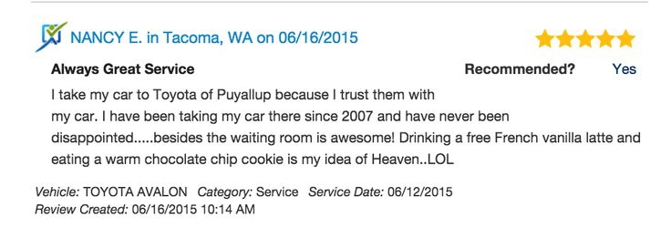 Thank you for choosing Toyota of Puyallup, Nancy!