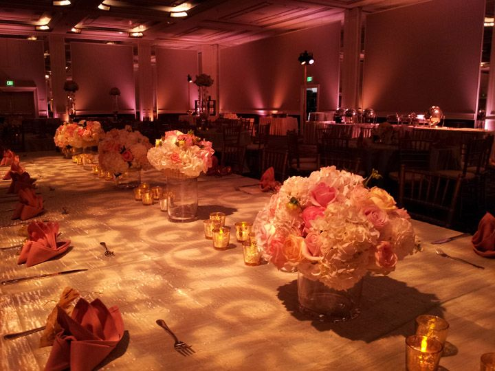 up lighting ideas. great setup at this coral uplighting wedding reception diy up lighting ideas