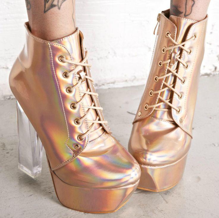 Holographic Rose Gold Platform Heels