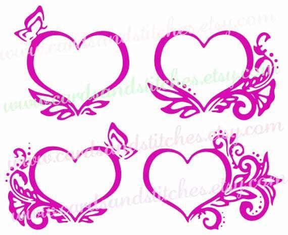 Hearts SVG - Heart Frames SVG - Valentine SVG - Digital Cutting File - Silhouette Cut - Vector - Instant Download - Svg, Dxf, Jpg, Eps, Png by cardsandstitches on Etsy