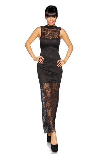 Rochie de seara, eleganta, din dantela neagra din colectia Rochii de seara lungi de la  http://www.rochii-ieftine.net/produs-1212-rochie-de-seara-eleganta-din-dantela-neagra.html