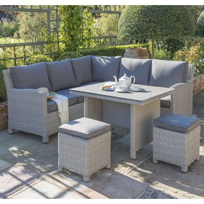 kettler palma mini corner set white wash with taupe cushions available to buy online from garden furniture world we sell a large range of garden