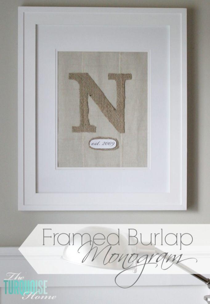 DIY Framed Burlap Monogram