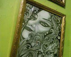 Lukisan Black N Grey Woman Death