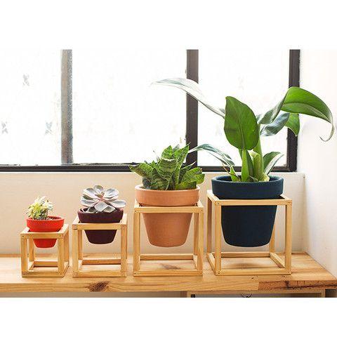 Suporte de madeira + vaso de cerâmica Nº4
