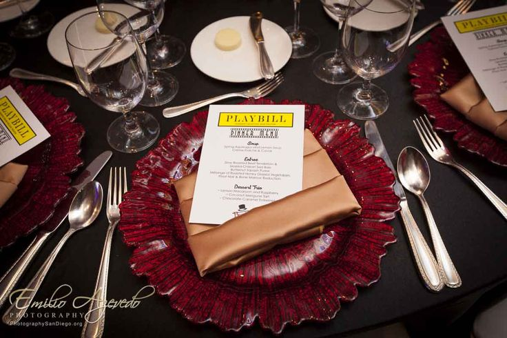 Playbill menu and decor and Broadway Nights Benefit Gala! - Broadway Nights themed party!