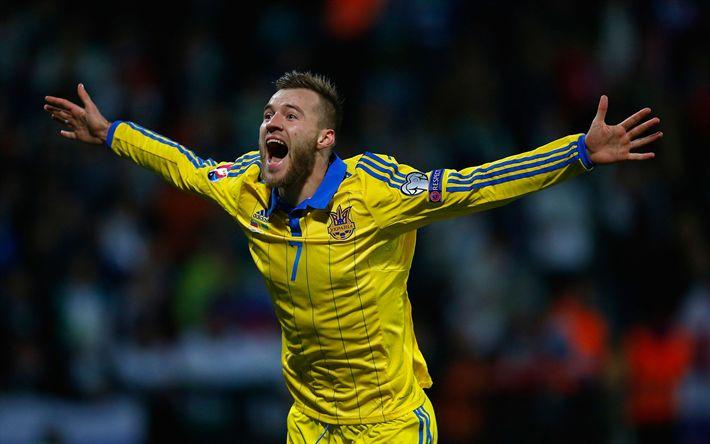Lataa kuva Andriy Yarmolenko, tavoite, jalkapalloilijat, Ukrainan Maajoukkue, jalkapallo, Andrey Yarmolenko