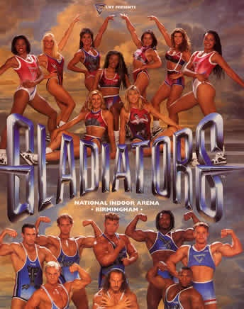 Gladiators ITV 90's TV show. I cannot believe I watched this- plus I owned the annual!!!!!!!!!!!!Was crap.....;]