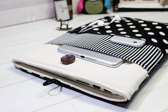 Macbook Pro Case, Pro Retina sleeve, Macbook Sleeve 15, Polka Dot Laptop Case, Fabric Laptop Case, B