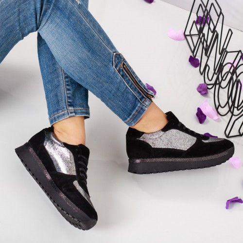 Promotie • Pantofi dama Piele Enjoy negri casual