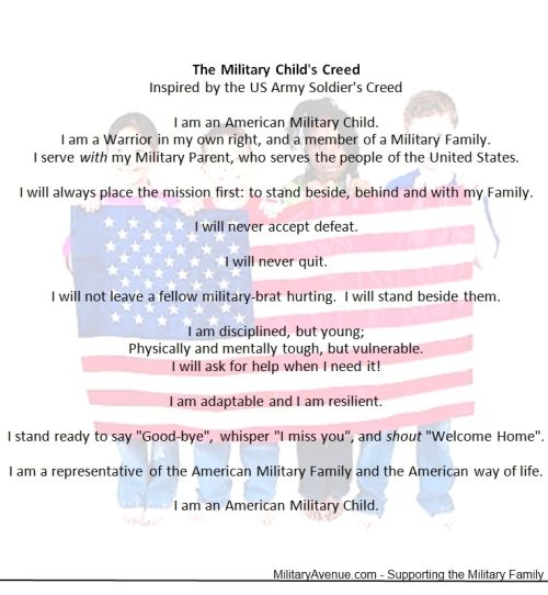 The Military-Family The Military Childu0027s Creed Brat Life - army certificate of appreciation