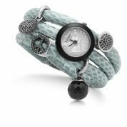 """Time is but the stream I go a-fishing in"". Henry David Thoreau Aqua blue snake skin Story bracelet accessorised with black silver charms. Inuti Designer Jewellery, 43 King Edward Court, Windsor, SL4 1TG, Tel: 01753-620860"
