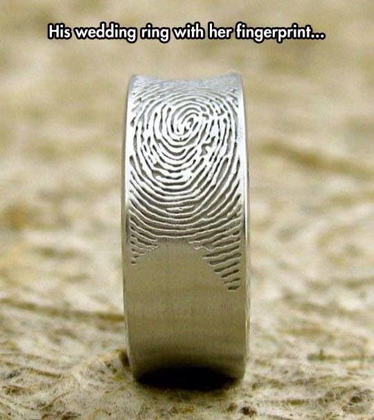 Custom fingerprint wedding bands from Fabuluster