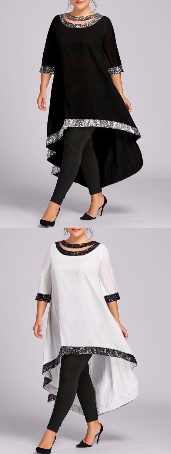 Plus Size Sequined Trim Dip Hem Dress
