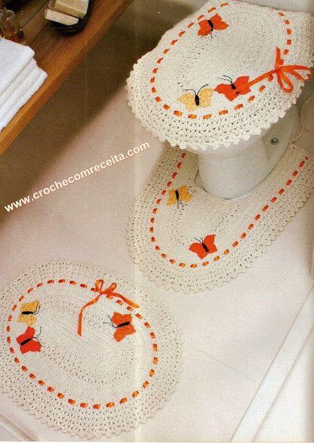 Set De Baño Romantic:Juego De Bano Crochet