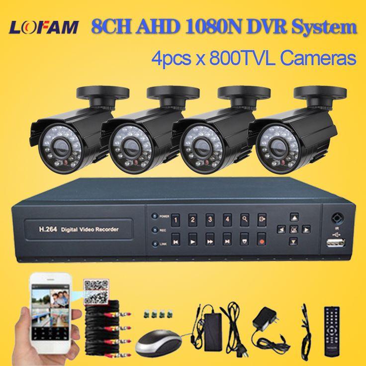 LOFAM 8 Canal CCTV Sistema de câmera De Segurança com 1080N AHD DVR 4 x 800TVL outdoor video surveillance Camera Kit Sistema de CCTV 8ch