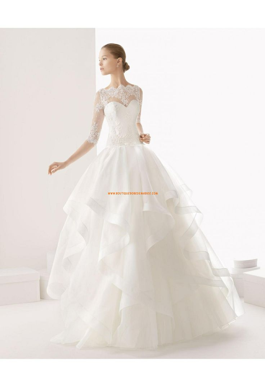 Robe de marie princesse organza avec manches dentelle