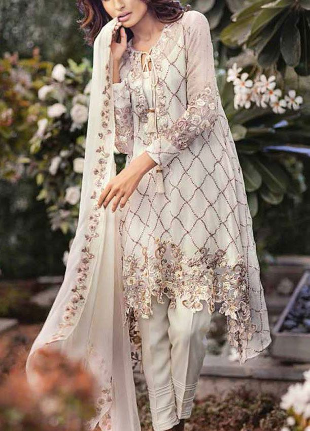 Buy White Embroidered Chiffon Dress by Mina Hasan 2015.