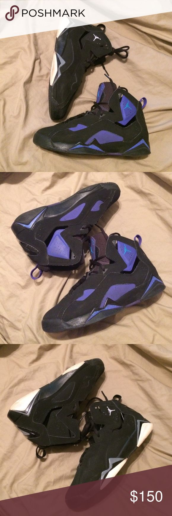 2 JORDAN TRUE FLIGHT (PRICE IS FOR BOTH SHOE SIZE 6y) (please do know posh take percentage) Selling both true flight black/white and black/purple...minor wear, need a little cleaning from storage...Price reflect brand and condition, ask any questions below before purchase, will only negotiate through offer button, feel free to to give me a reasonable offer, low ball me and I will decline Jordan Shoes