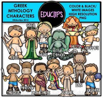 A of characters from Greek Mythology. Images included are: Eros, Gaea, Hebe, Typhon, Hestia, Hermes, Theseus, Minotaur, Prometheus, Iris, Psyche, Pan & Uranus.