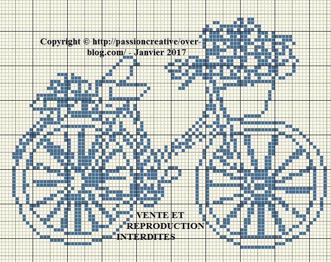 Grille gratuite point de croix ma bicyclette bleue point de croix 1 vrac pinterest les - Grille de broderie gratuite a imprimer ...