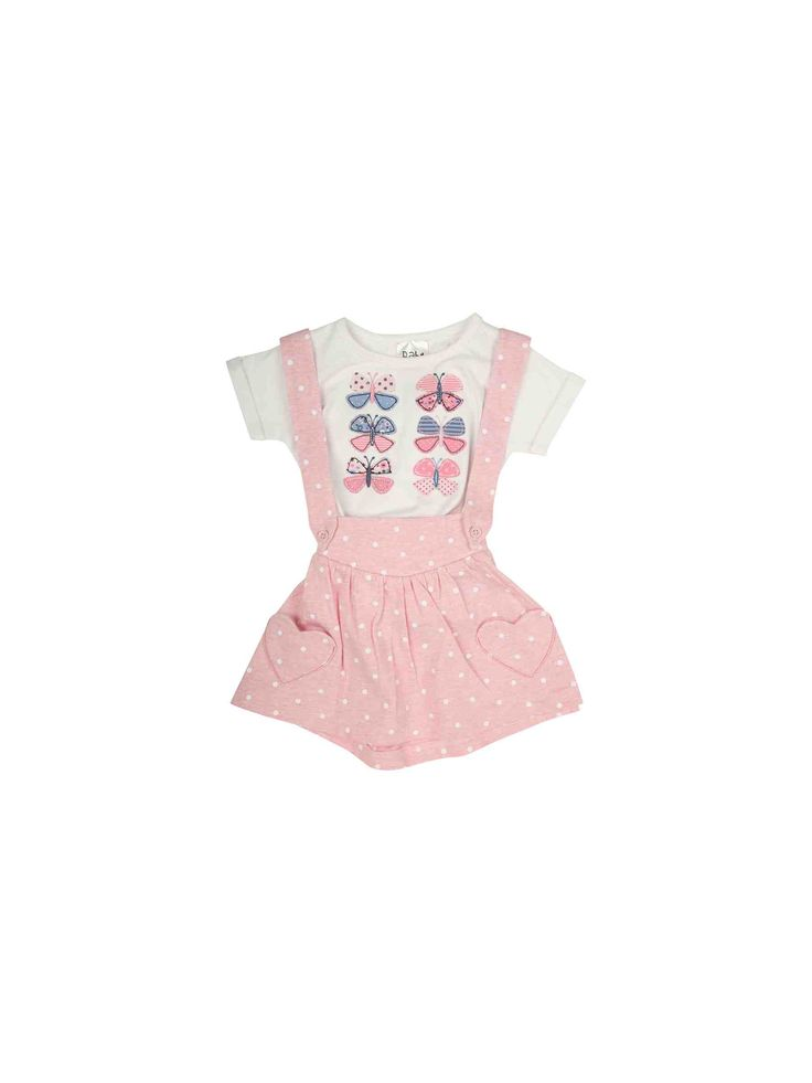 Take her collection of cute wardrobe staples to the next level with this baby girls' t shirt & braces skirt set. Featuring a white t shirt with an array of butterfly motifs on the front and a spot print skirt with attached braces, this set is a must have
