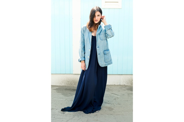 Eleonora indossa blazer in denim oversize Surf Shack, total look Tommy Hilfiger #SurfShack