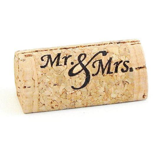 Custom Printed Wine Cork Place Card Holders Mr by CorkeyCreations