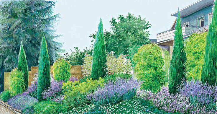 Hier zeigen wir zwei Gestaltungsideen, wie Sie Ihren Hanggarten zur Straße hin in einen Blickfang verwandeln. Im letzten Abschnitt finden Sie die Pflanzpläne als PDF zum Herunterladen.