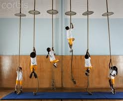climbing rope in school P.E. I hated this the worst. I could not do it!