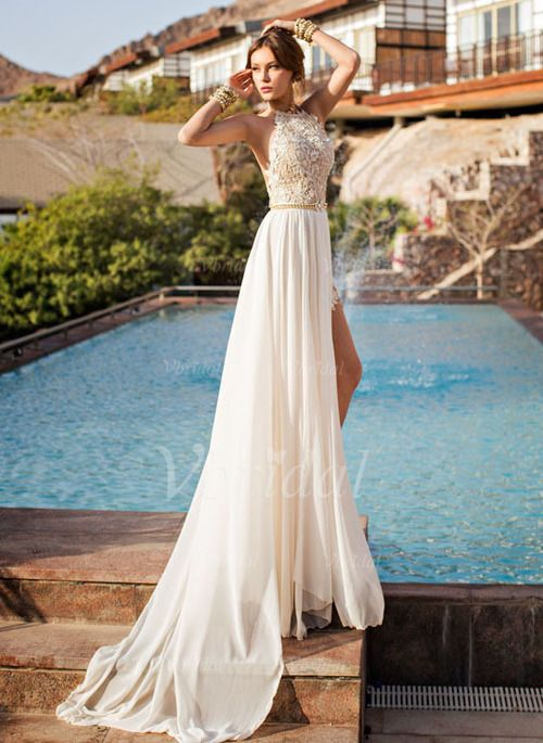 Evening Dresses - $149.81 - A-Line/Princess Halter Sweep Train Chiffon Evening Dress With Appliques Lace Split Front (0175059958)