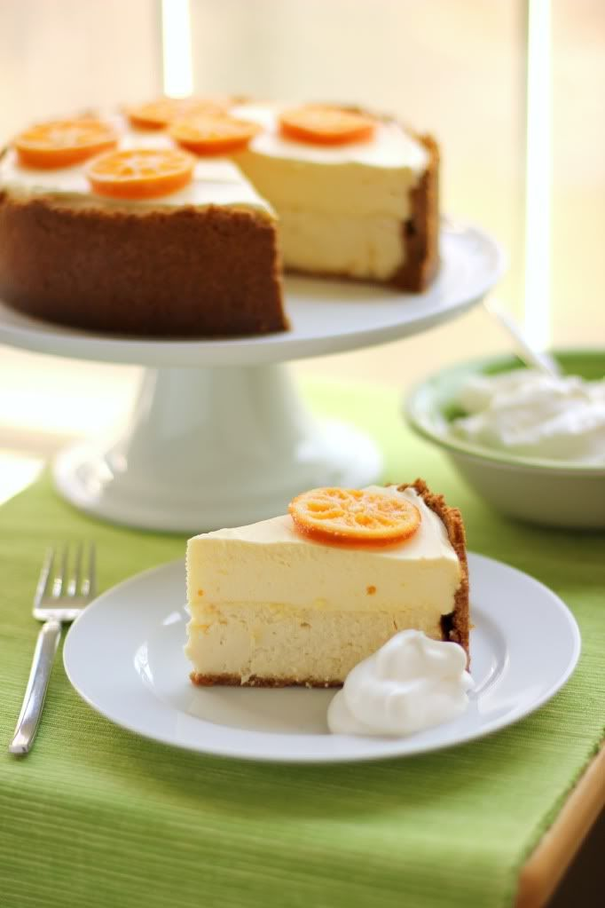 Clementine Mousse Cheesecake - The top layer is a sweet clementine mousse made with clementine curd, and the bottom layer is a traditional creamy cheesecake. Some clementine slices were candied to decorate the top. Each piece of cake with a heap of freshly whipped cream. Recipe @ http://willowbirdbaking.com