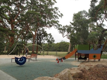 Bundeena Oval. This one is a local. Behind the preschool, next to a skate ramp with seating and BBQs this one is a winner with the kids.